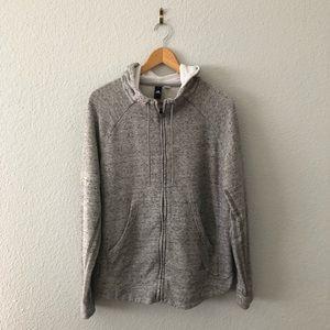 Adidas Heather Grey Zip Up Hoodie Stripes L/XL